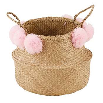 MAYA Basketwork Basket with Pink Pompoms (H35 x W45 x D45cm)