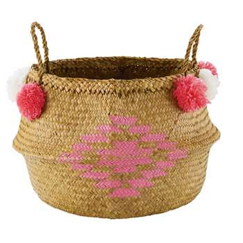 MAYA Basketwork Collapsible Rice Basket with Pink Motif (47 x 40cm)