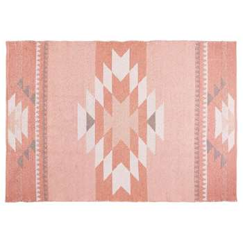 MAYA Pink Cotton Ethnic Rug (120 x 180cm)