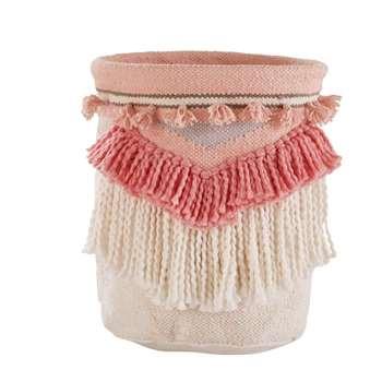 MAYA Pink Ethnic Basket with Fringing (30 x 25cm)