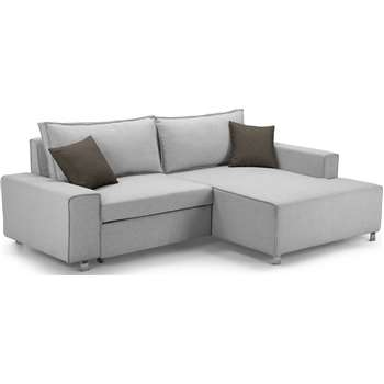 Mayne Right Hand Facing Corner Sofa Bed, Clear Grey Stone (77 x 233cm)