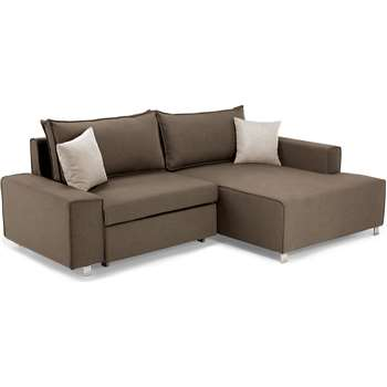 Mayne Right Hand Facing Corner Sofa Bed, Grouse Brown (77 x 233cm)