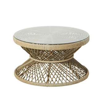 MAYOTTE Rattan Effect Resin Wicker and Glass Garden Coffee Table (H41 x W75 x D75cm)