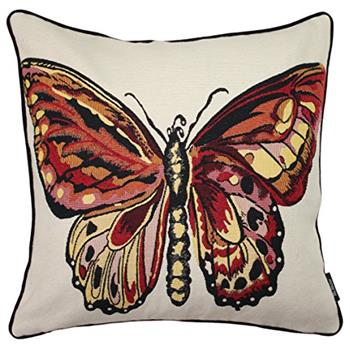McAlister Textiles Red Butterfly Tapestry Cushion Cover