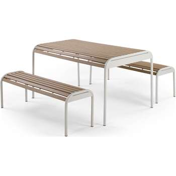 Mead Outdoor Bench Set, Chalk White (76 x 150cm)