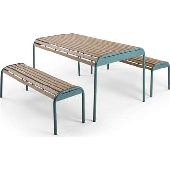 Mead Outdoor Bench Set, Graphite Blue (76 x 150cm)