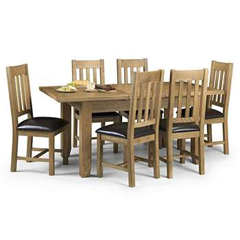 Medford 140cm Oak Extending Dining Table and Chairs - Brown, 4 Chairs (H78 x W140-180 x D90cm)