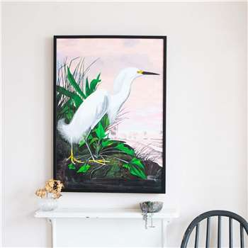 Medium Framed Pink Sky Heron Print (H70 x W50 x D2cm)