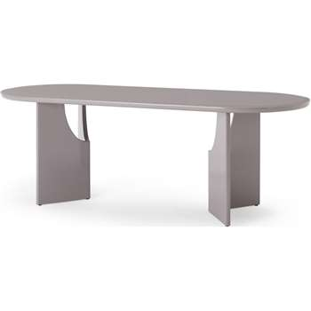 Mekkin 8 Seat Dining Table, Gloss Grey (H76 x W220 x D85cm)