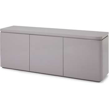 Mekkin Wide 3 Door 3 Drawer Sideboard, Grey Gloss and Matt Plum (H72 x W180 x D45cm)