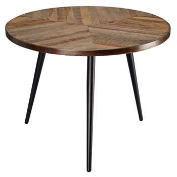 MELCHIOR mango wood and black metal end table (42 x 55cm)