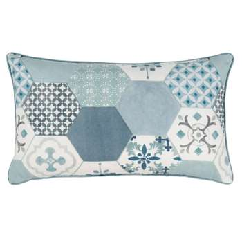 MELIN - Printed Blue, White and Grey Cotton Cushion Cover (H30 x W50cm)