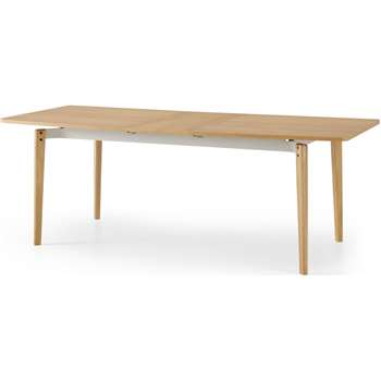 Mellor 6-8 Seat Extending Dining Table, Oak & Textured White (H75 x W210 x D90cm)