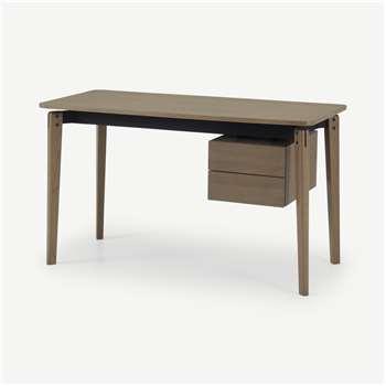 Mellor Desk, Dark Stained Oak & Textured Charcoal (H75 x W130 x D60cm)