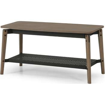 Mellor Hallway Bench, Dark Stained Oak & Textured Charcoal (H45 x W90 x D42cm)