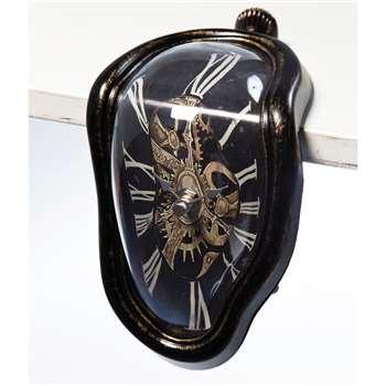 Melting table clock antique black (18 x 12cm)