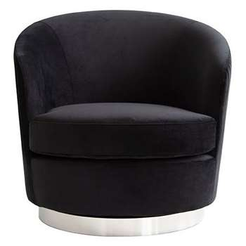 Melville Swivel Chair Black- Silver Base (H73 x W75 x D85cm)