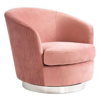 Melville Swivel Chair Blush Pink- Silver Base (H73 x W75 x D85cm)