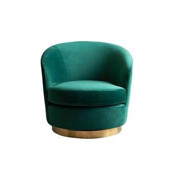 Melville Swivel Chair Bottle Green - Brass Base (H73 x W75 x D85cm)