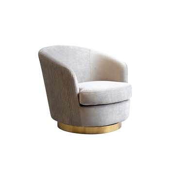 Melville Swivel Chair Dove Grey- Brass Base (H73 x W75 x D85cm)