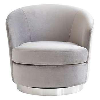 Melville Swivel Chair Dove Grey - Silver Base (H73 x W75 x D85cm)