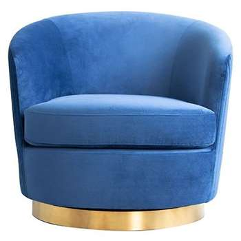 Melville Swivel Chair Navy- Brass Base (H73 x W75 x D85cm)