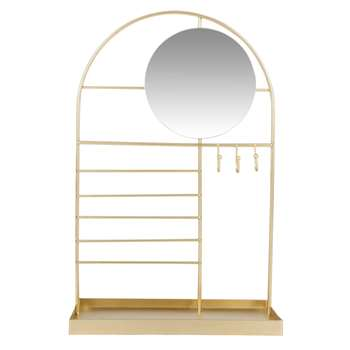MELY - Gold Metal Jewellery Stand with Mirror (H34 x W21 x D9.5cm)