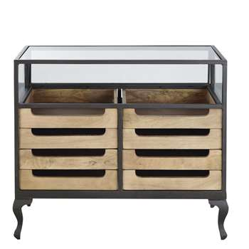 MEMORY PRO - Black Metal and Solid Mango Wood Glazed Shop Counter (H97 x W88.5 x D48cm)