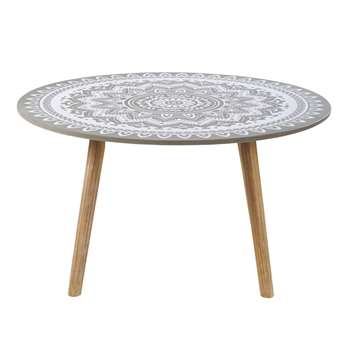 MENHIR Round Solid Acacia and Cement Garden Coffee Table (H41 x W75.5 x D75.5cm)