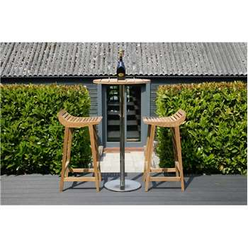 Menton Teak Barstool Set Including 2 Stools & Bar Table (Diameter 60cm)