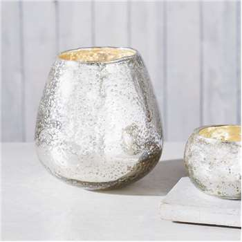 Mercury Tealight Holder, Silver (14 x 13cm)