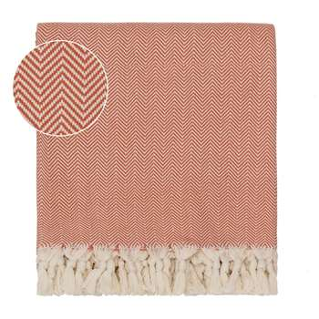 Merkez Cotton Blanket, Orange & Off-White Herringbone Design (150 x 245cm)