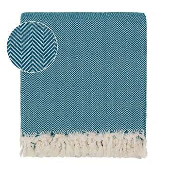 Merkez Cotton Blanket, Teal & Off-White Herringbone Design (150 x 245cm)