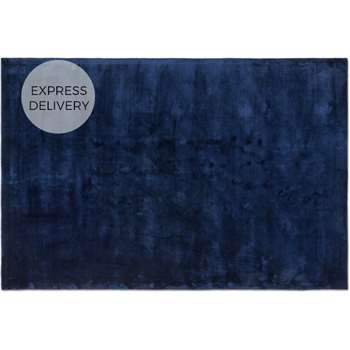 Merkoya Extra Large Luxury Viscose Rug, Midnight Blue (H200 x W300 x D1.5cm)