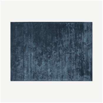Merkoya Luxury Viscose Rug, Blue Slate (H160 x W230cm)