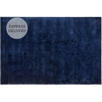 Merkoya Luxury Viscose Rug, Midnight Blue (H160 x W230 x D1.5cm)