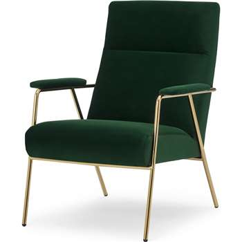 Merle Accent Armchair, Pine Green Velvet with Brass Frame (H96 x W67 x D83cm)