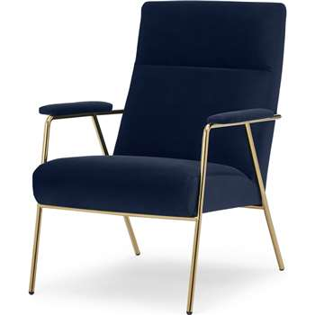Merle Accent Armchair, Royal Blue Velvet with Brass Frame (H96 x W67 x D83cm)
