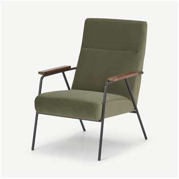 Merle Accent Armchair, Sycamore Green Velvet (H96 x W67 x D83cm)