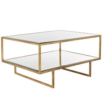 Merle Coffee Table - Antiqued Glass (H40 x W80 x D60cm)