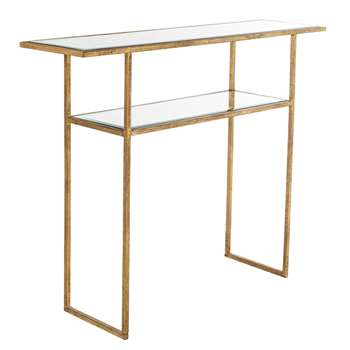 Merle Console Table - Antiqued Glass (H80 x W100 x D27cm)