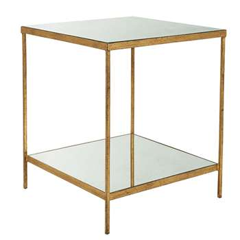 Merle Side Table - Antiqued Glass (H62 x W54 x D54cm)