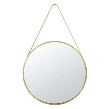 MERYL - Round Golden Metal Hanging Mirror (Diameter 90cm)