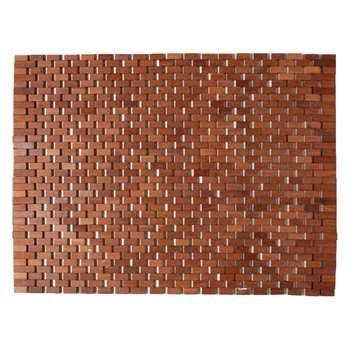 Mesh Teak wooden bath mat - Dark stained 49 x 63cm
