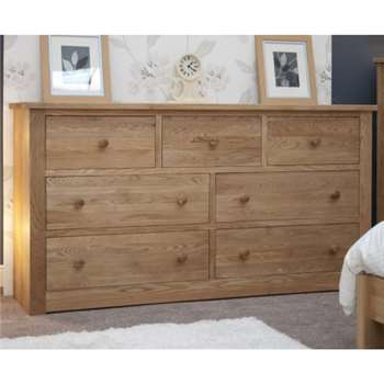 Messina Oak 7 Drawer Wide Chest (97 x 180cm)