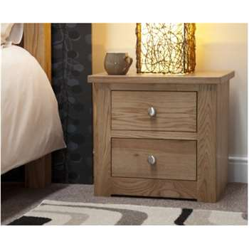 Messina Oak Two Drawer Bedside Chest (51 x 52cm)