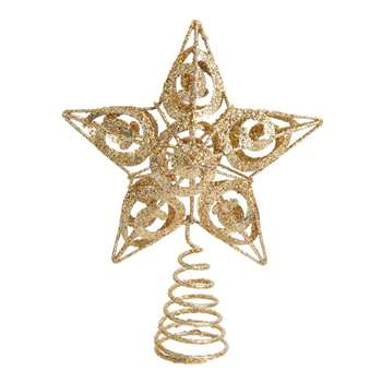 Gold Metal Star Christmas Tree Topper (Height 18cm)