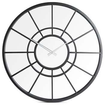 Metal Mirrored Window Wall Clock, Black (H50 x W50cm)