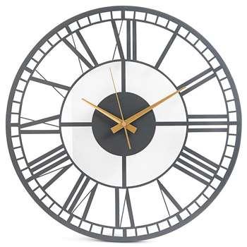 Metal Skeleton Wall Clock, Charcoal (H45 x W45 x D3.5cm)