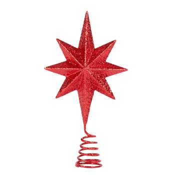 Metal Star Christmas Tree Topper with Red Glitter (H18 x W14 x D4cm)